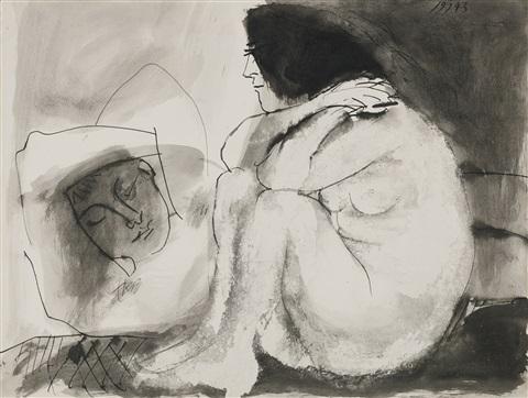 pablo-picasso-femme-contemplant-un-homme-endormi-(homme-couché-et-femme-assise)